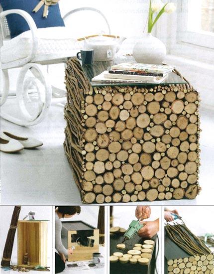 C mo hacer una mesa con troncos for Como hacer una mesa de madera rustica