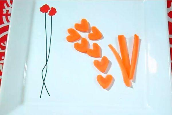 Rodajas de zanahoria con forma de corazón. Decorar platos con zanahoria en forma de corazón. Decorar platos en una cena romántica