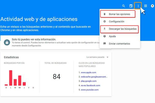 Pasos para borrar tu historial de búsqueda hechas en Google. Guardar archivo con el historial de búsqueda de Google