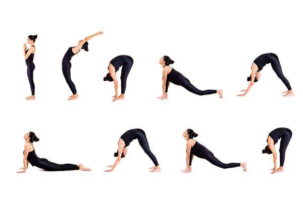 12 posturas simples de yoga para saludar al sol. Rutina de ejercicios de yoga para saludar al sol. Asanas de yoga para saludar al sol