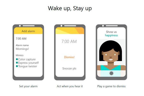 Mimicker alarm, alarma para despertar de buen humor. Despertador con juegos. Alarma para despertar con juegos