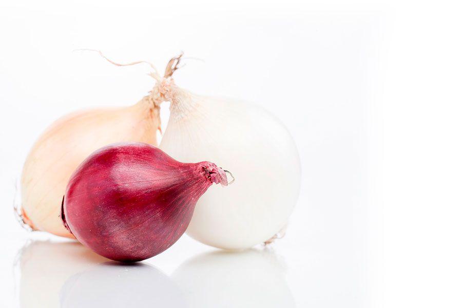 3 clases de cebollas distintas - Cebolla blanca, amarilla y morada