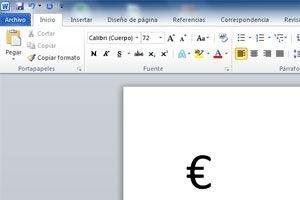 Cómo poner el simbolo del Euro en word