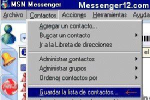 Guardar la lista de contactos de MSN