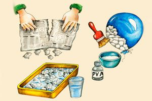 Ilustración de Como realizar o fabricar papel mache