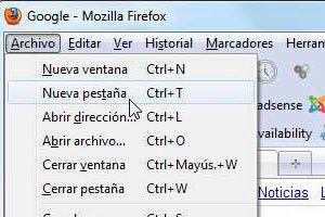 Como abrir la barra de pestañas en Firefox