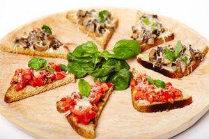 Ingredientes y preparación para hacer bruschettas. tips para crear bruschettas rápido y fácil. Receta para hacer bruschettas caseras
