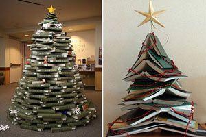 Ilustración de Cómo hacer un árbol de Navidad con Libros