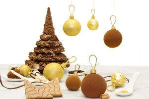 Preparar un pinito de navidad de chocolate. receta para hacer un arbol navideño de chocolate. Bizcochuelo con forma de pinito de navidad